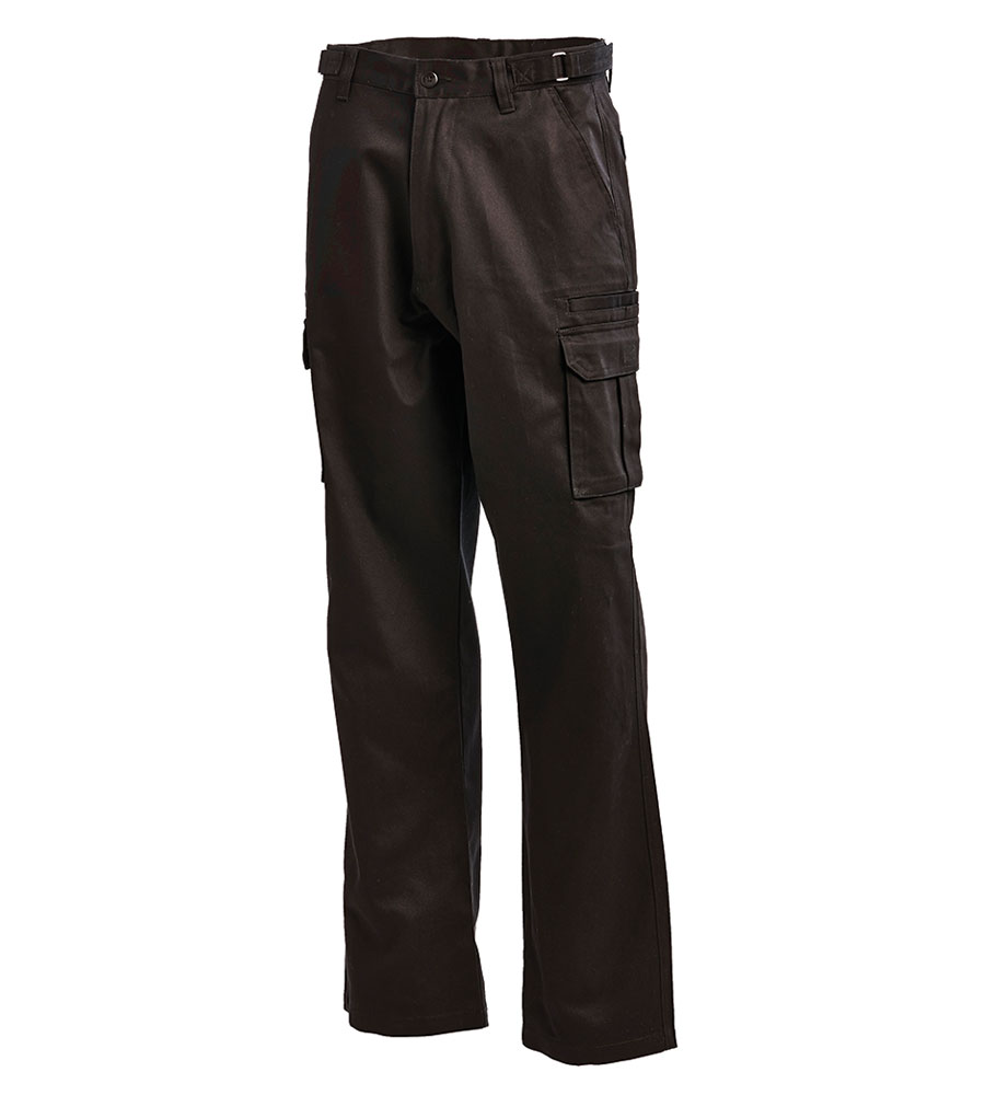 PANT DRILL CARGO BLACK 102R MULTI POCKET 100% COTTON 310G