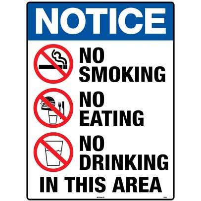 NO SMOKING NO EATING NO DRINKING 600 X 450 METAL (168LM