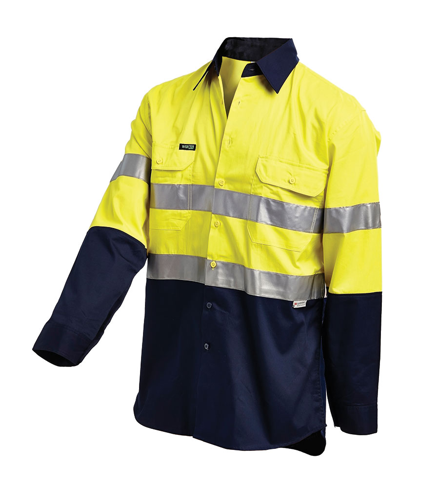 SHIRT HI VIS LIGHTWEIGHT L/S Y/N 2XL 3M TAPE, GUSSET CUFF, VENTED 155G