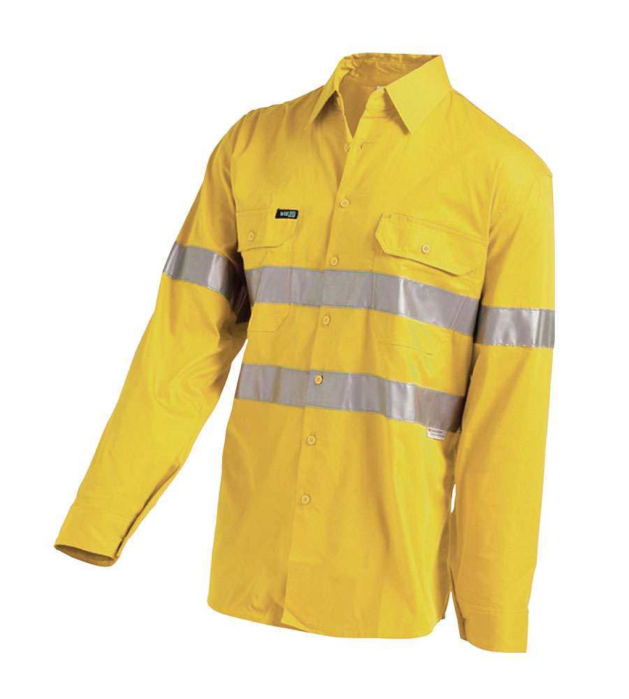 SHIRT HI VIS YELLOW L/W TAPED XS GUSSET CUFF, VENTED 155G