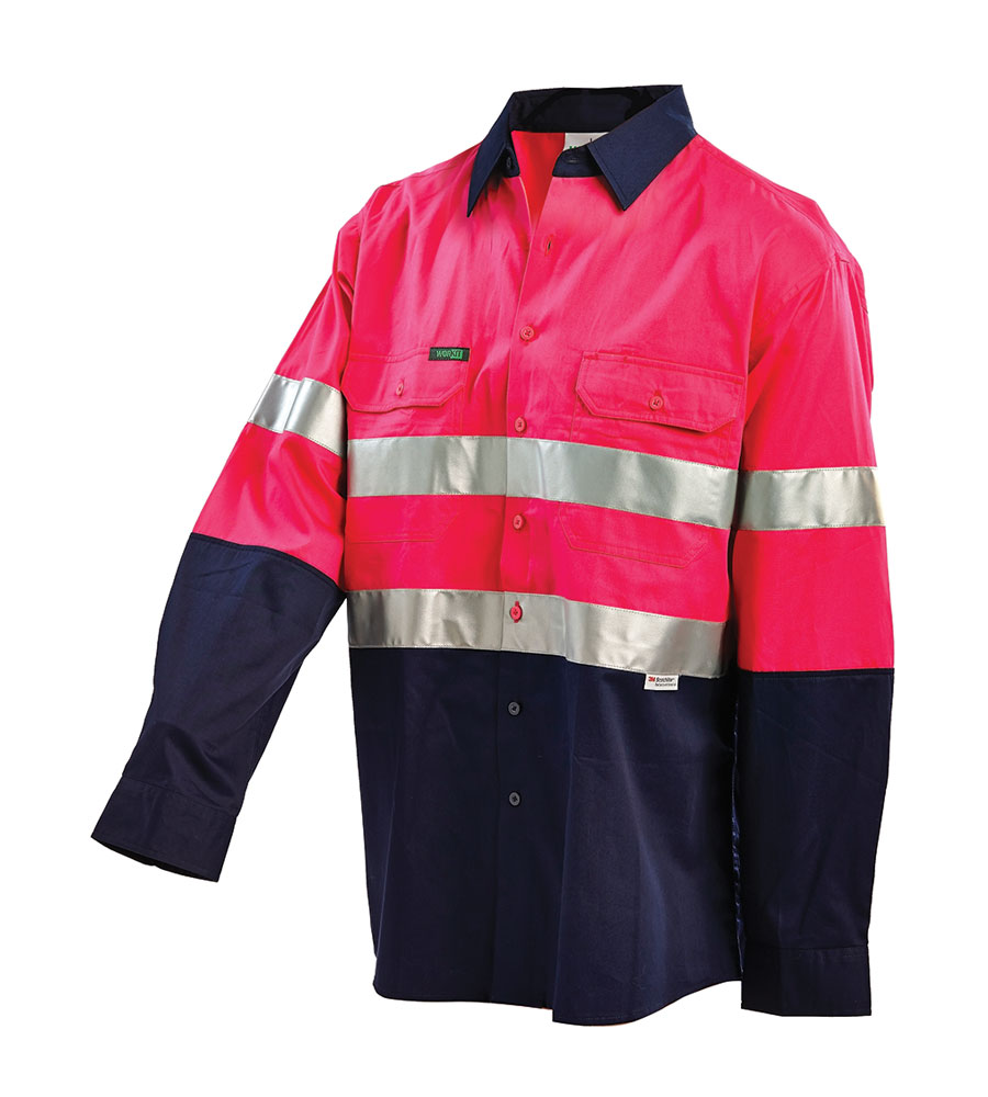 SHIRT HI VIS LIGHTWEIGHT L/S P/N 3XL 3M TAPE, ADJUST CUFF, 155G