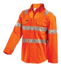 SHIRT HI VIS L/WEIGHT L/S ORANGE M SHOULD & HOOP TAPE VENTED 155G