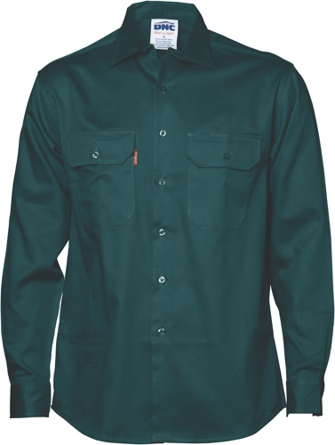 SHIRT L/S FULL BUTTON GREEN SIZE L