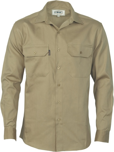 SHIRT L/S FULL BUTTON KHAKI SIZE 2XL