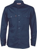 SHIRT L/S FULL BUTTON NAVY SIZE 2XL