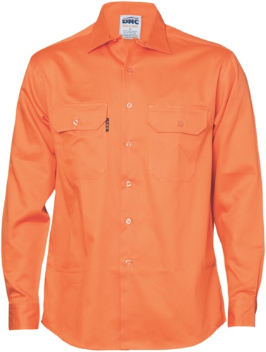 SHIRT L/S C/DRILL ORANGE SIZE 2XL