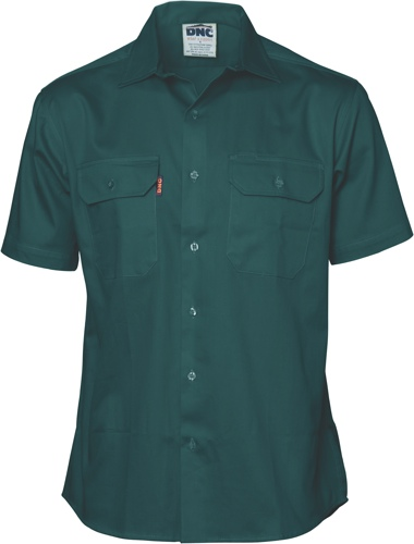 SHIRT S/S L/WEIGHT DRILL GREEN SIZE