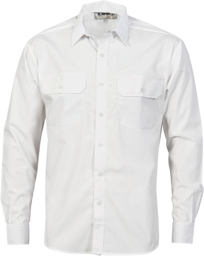 SHIRT POLY/COTTON L/S WHITE SIZE 2XL