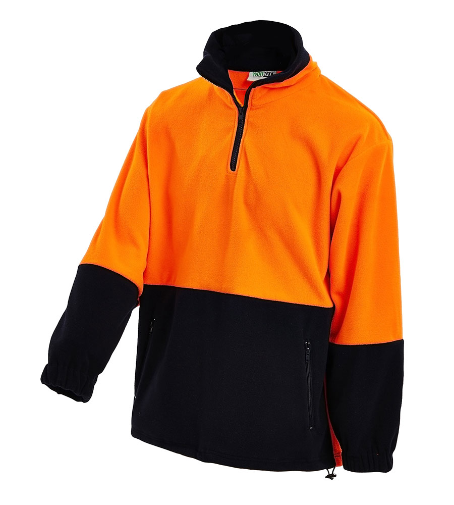 JUMPER HI VIS 1/4 ZIP FLEECY O/N 2XL ANTI PILL POLAR FLEECE 300G