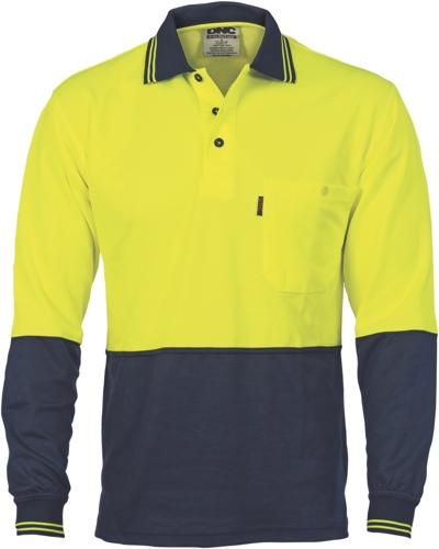 POLO L/S COTTON BACK Y/N SIZE 3XL