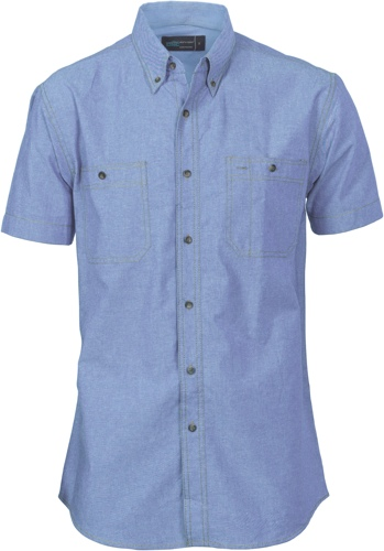 SHIRT S/S CHAMBRAY BLUE 2XL
