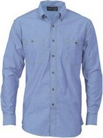 SHIRT L/S CHAMBRAY BLUE SIZE 2XL