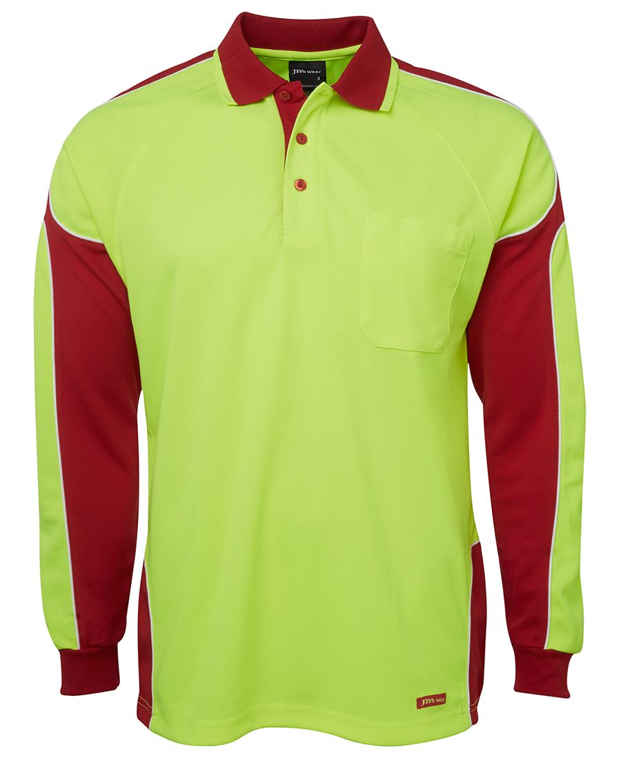 POLO Hi Vis L/S LIME/RED 2XL EARTHCARE LOGO & NAME