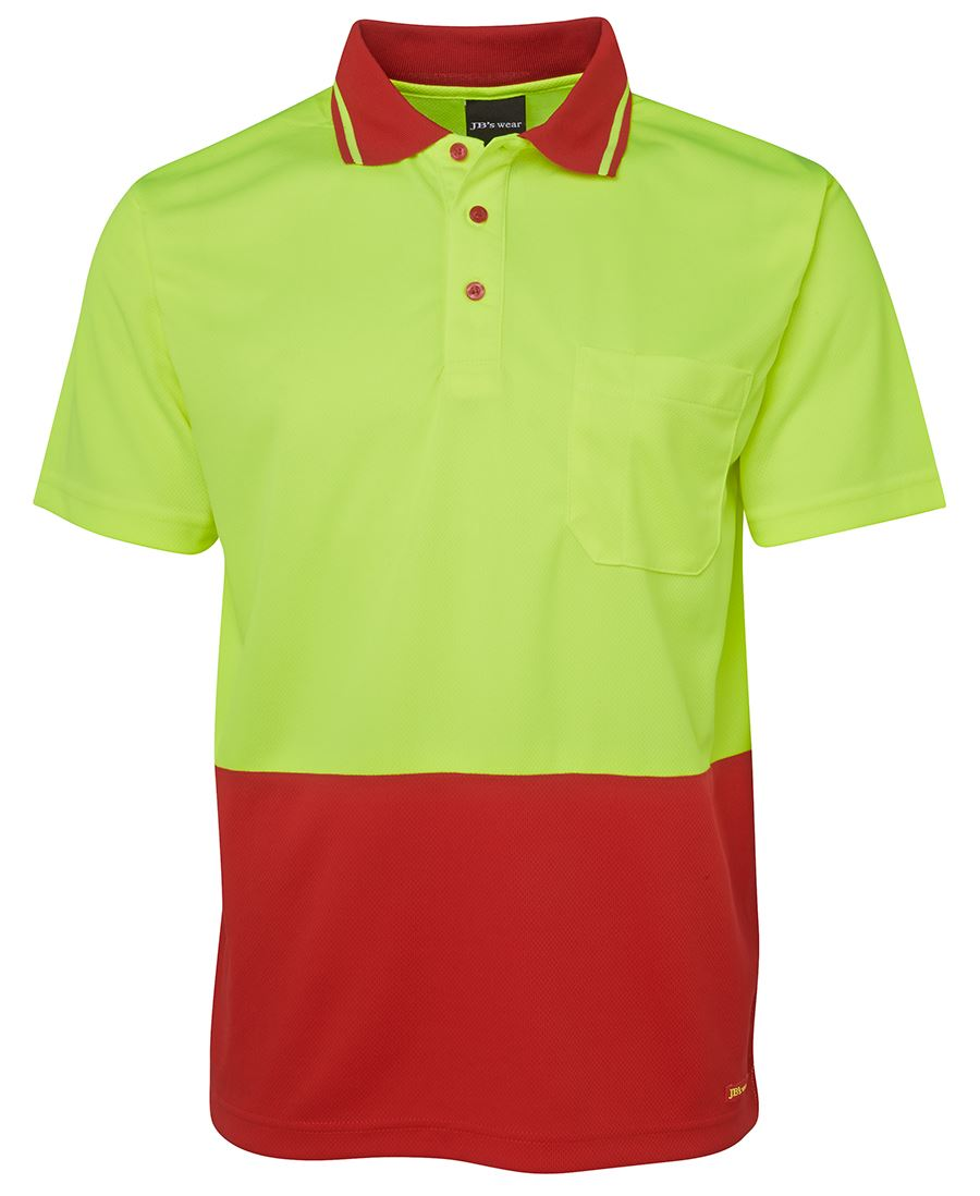 POLO Hi Vis S/S LIME/RED 2XL EARTHCARE LOGO & NAME