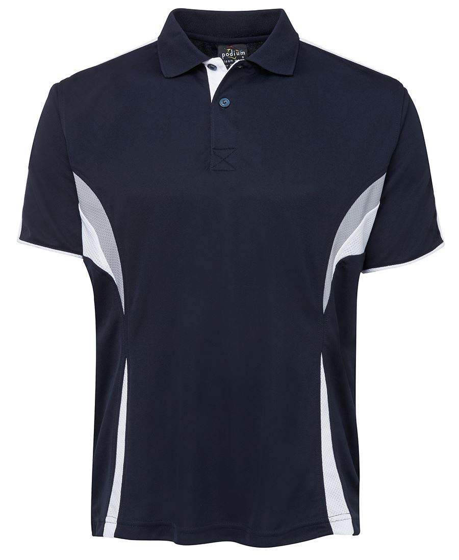 POLO MENS PODIUM COOL 2XL - NAVY/WHITE/GREY