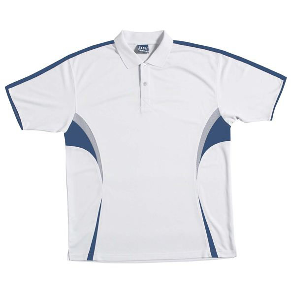 POLO PODIUM WHITE/NAVY/GREY 2XL - 160GSM POLYESTER
