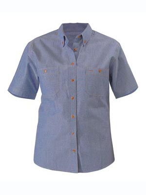 SHIRT S/S CHAMBRAY BLUE SIZE SMALL