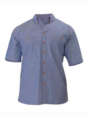 SHIRT S/S CHAMBRAY BLUE SIZE LARGE