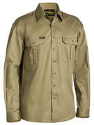SHIRT L/S C/DRILL KHAKI SIZE MEDIUM