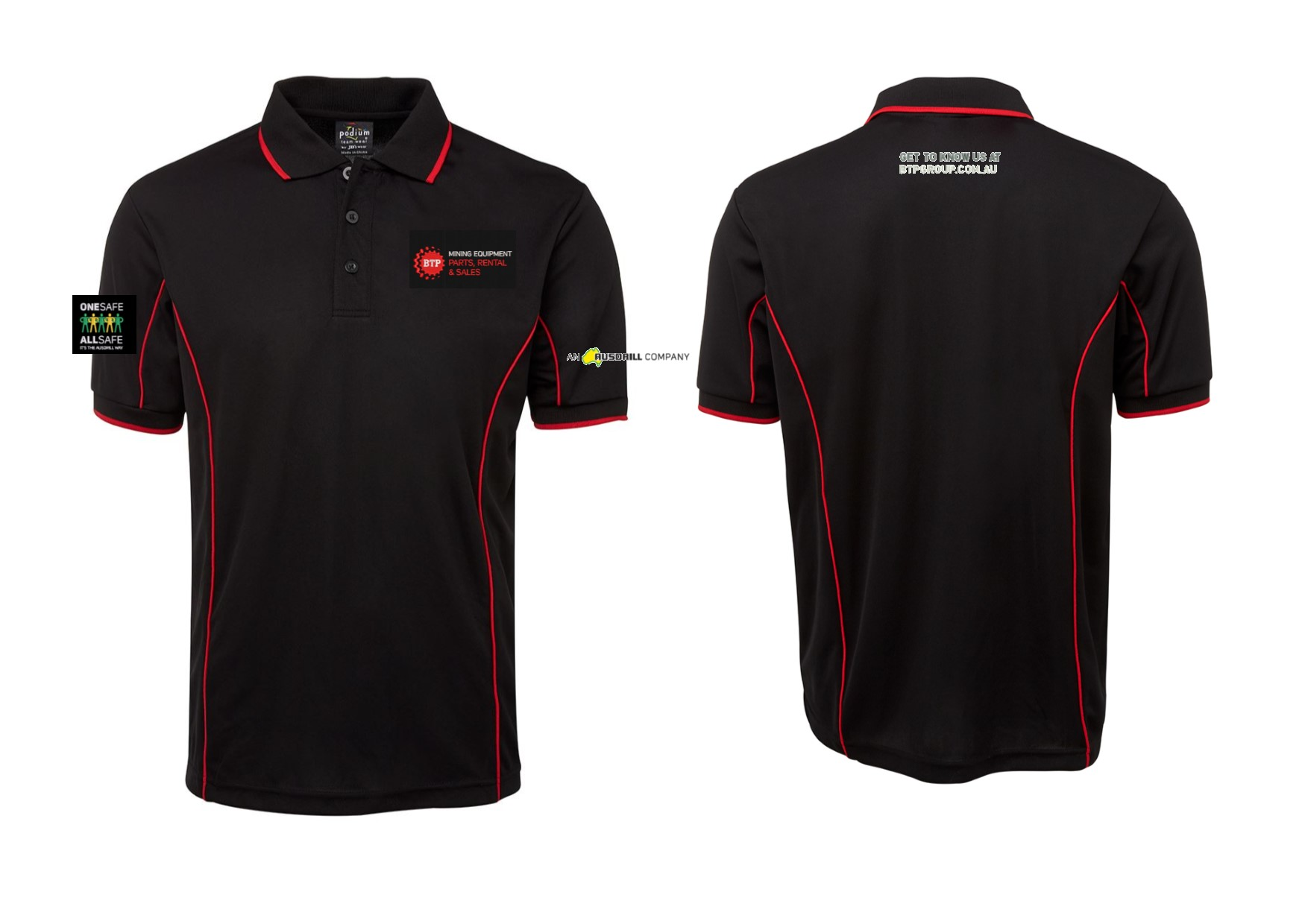 POLO PODIUM BLACK RED 2XL BTP LOGOS X 4