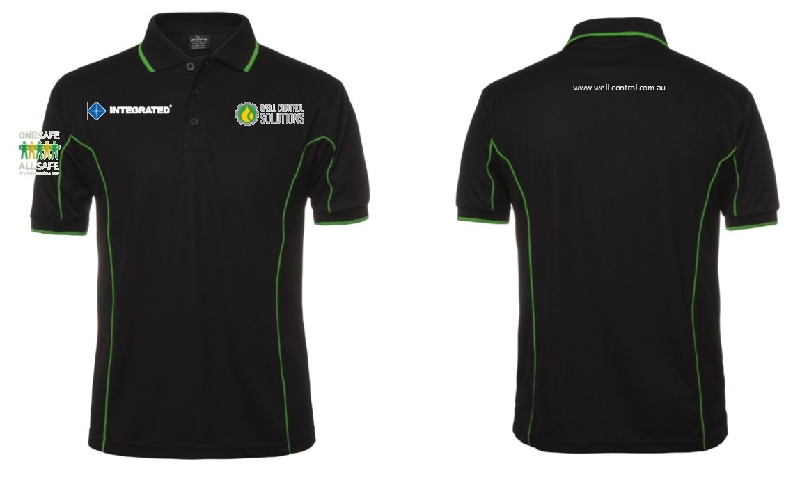 POLO PODIUM BLACK GREEN 2XL WELL CONTROL LOGOS X 4