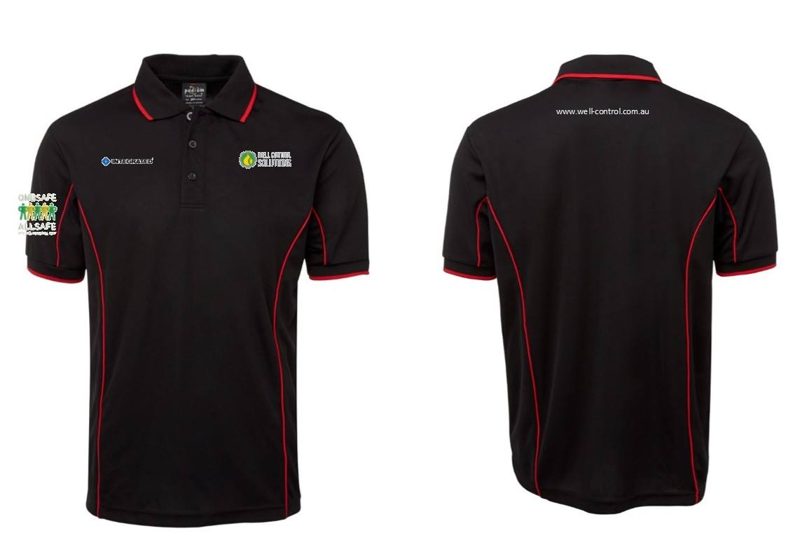 POLO PODIUM BLACK RED 2XL WELL CONTROL LOGOS X 4