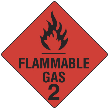 FLAMMABLE GAS CLASS 2 270 X 270mm S/ADHESIVE
