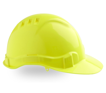 HARD HAT VENTED V6 FLUORO YELLOW PUSHLOCK HARNESS
