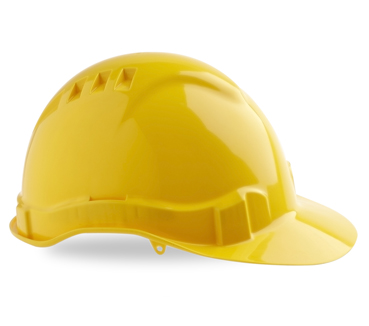 HARD HAT VENTED V6 YELLOW PUSHLOCK HARNESS