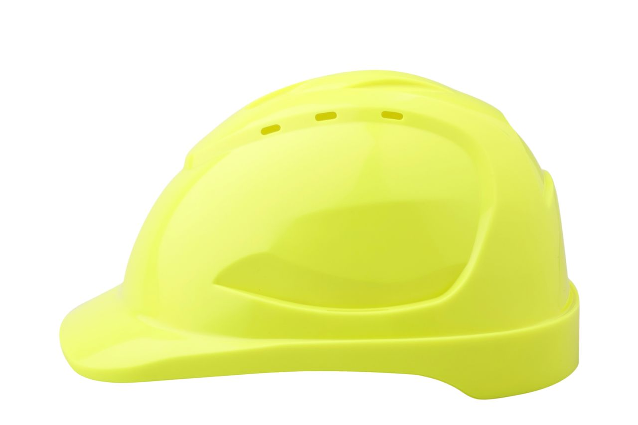 HARD HAT V9 VENTED FLURO YELLOW PUSHLOCK HARNESS