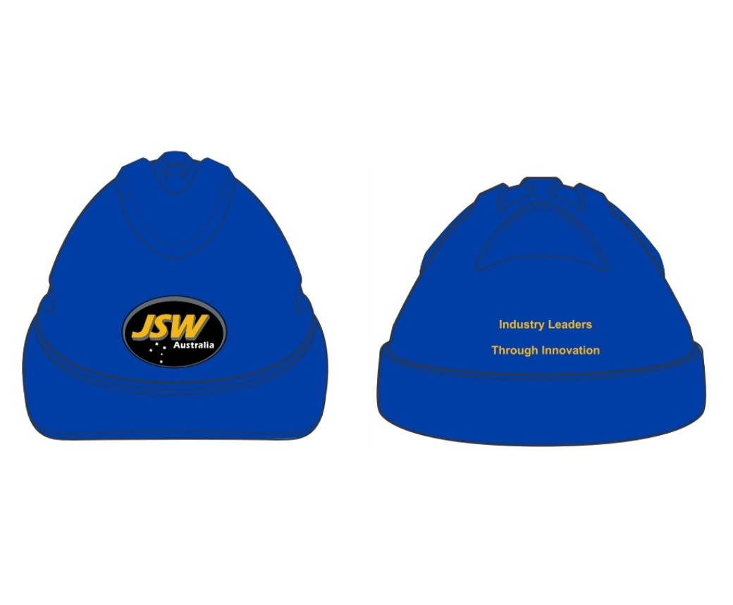 HARD HAT V9 BLUE JSW 4 COLOUR YELLOW PRINT ON BACK