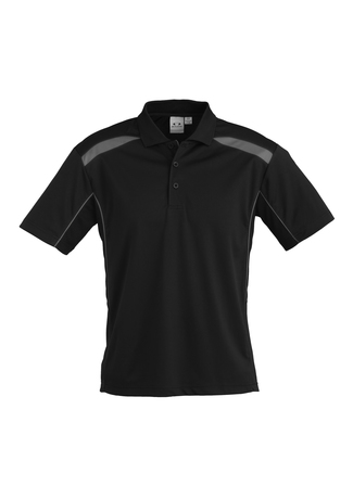 POLO MENS UNITED BLK/ASH 2XL - 155GSM BIZCOOL FABRIC