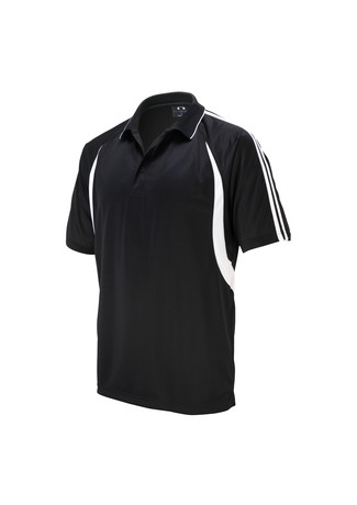 POLO MENS FLASH BLACK/WHITE 2XL - 165GSM BIZCOOL FABRIC