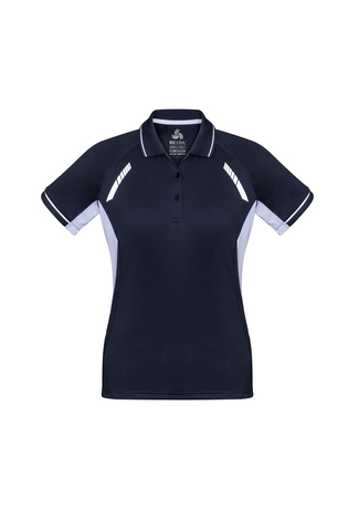 POLO LADIES RENEGADE NAVY/WHITE 14 - 155GSM BIZCOOL FABRIC