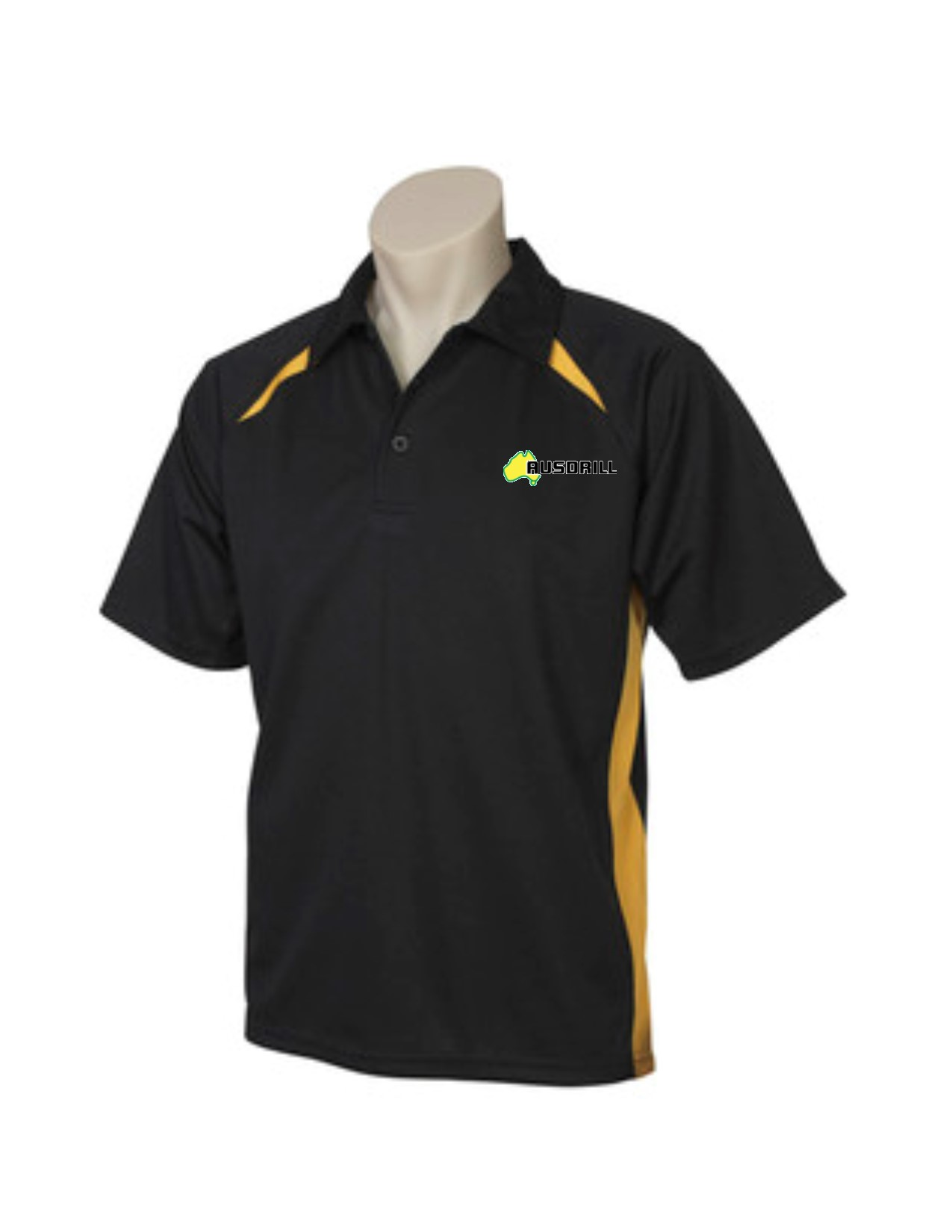POLO MENS SPLICE BLACK/GOLD 2XL AUSDRILL LOGO LH CHEST