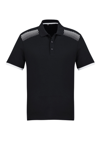 POLO MENS GALAXY BLACK/WHITE 2XL - 155GSM BIZCOOL FABRIC