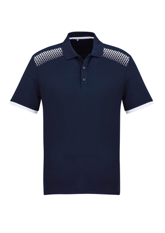 POLO MENS GALAXY NAVY/WHITE 2XL - 155GSM BIZCOOL FABRIC