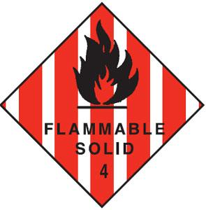 FLAMMABLE SOLID 4 270 X 270mm S/ADHESIVE