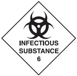 INFECTIOUS SUBSTANCE 6 270 X 270mm S/ADHESIVE